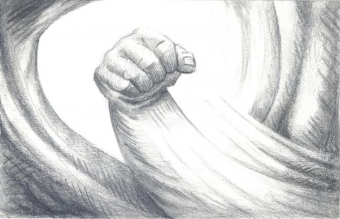Fist of fury, pencil on paper, 2019