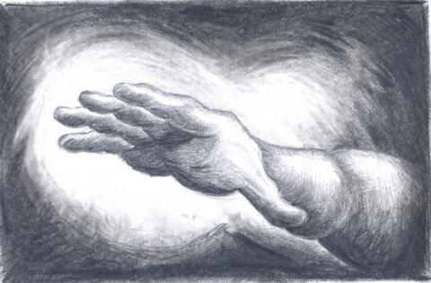 Superhand, pencil on paper, 2019