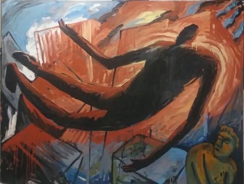 "shadow, oil on canvas, 52"" x 69"", 2001"
